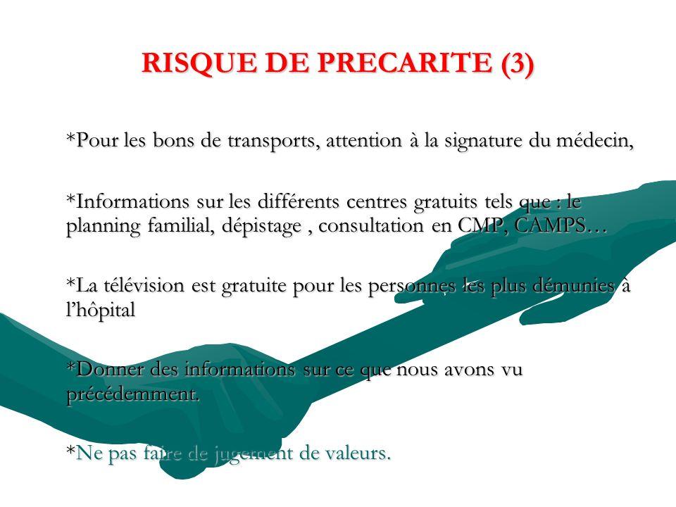 RISQUE DE PRECARITE (3) *Pour les bons de transports, attention à la signature du médecin, *Informations sur les différents centres gratuits tels que