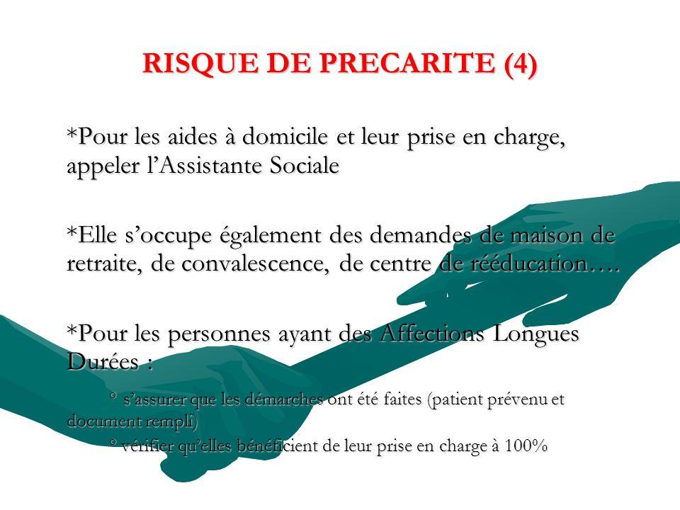 RISQUE DE PRECARITE (4) *Pour les aides à domicile et leur prise en charge, appeler lAssistante Sociale *Elle soccupe également des demandes de maison de retraite, de convalescence, de centre de rééducation….