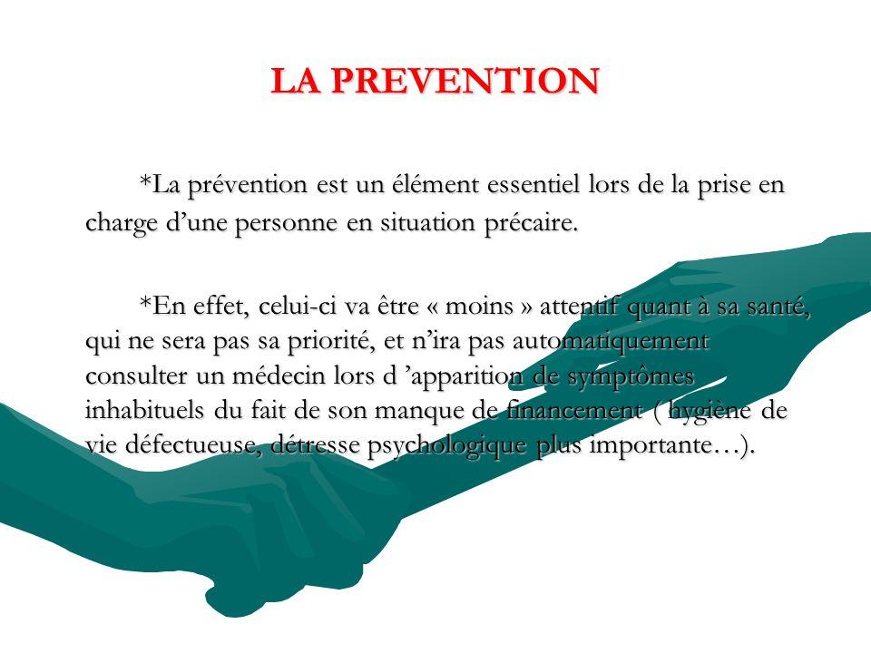 LA PREVENTION *La prévention est un élément essentiel lors de la prise en charge dune personne en situation précaire. *En effet, celui-ci va être « mo