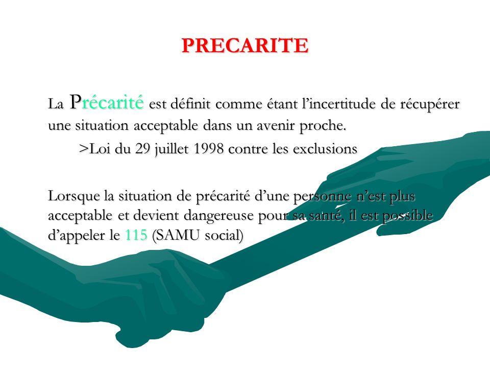 PRECARITE La Précarité est définit comme étant lincertitude de récupérer une situation acceptable dans un avenir proche.