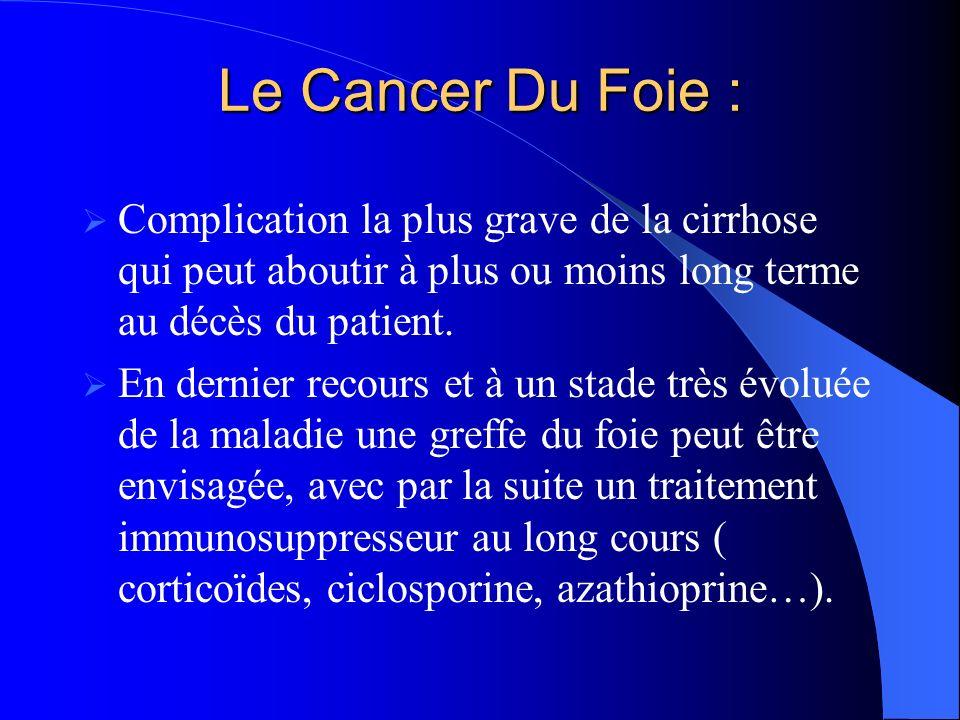 Le Cancer Du Foie : Complication la plus grave de la cirrhose qui peut aboutir à plus ou moins long terme au décès du patient.