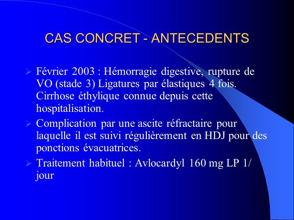 CAS CONCRET - ANTECEDENTS Février 2003 : Hémorragie digestive, rupture de VO (stade 3) Ligatures par élastiques 4 fois.