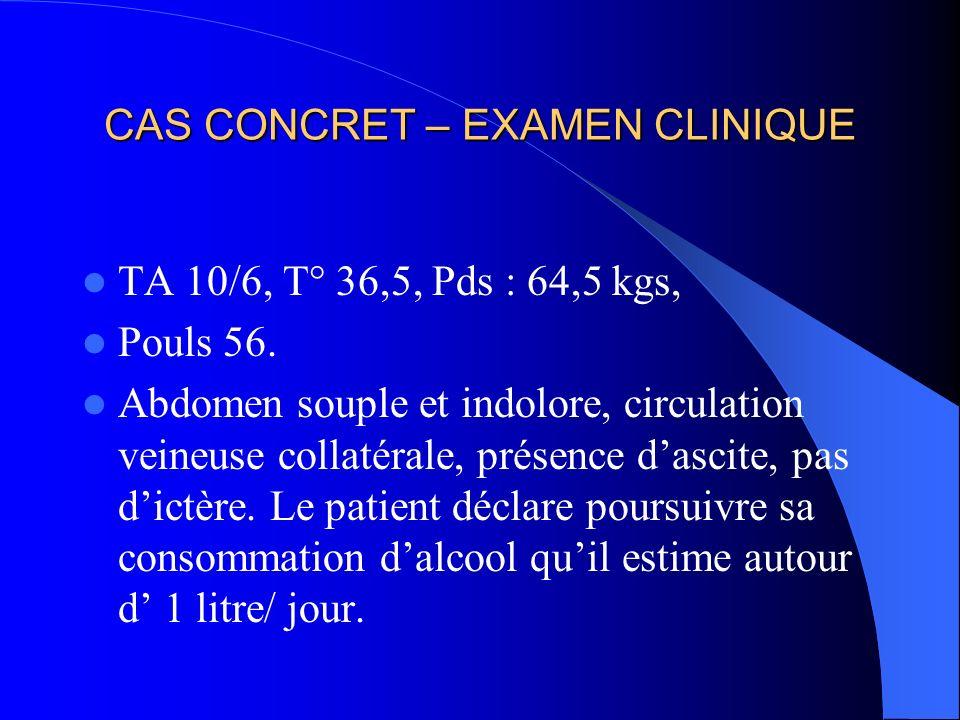 CAS CONCRET – EXAMEN CLINIQUE TA 10/6, T° 36,5, Pds : 64,5 kgs, Pouls 56.