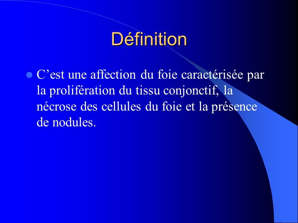 Définition Cest une affection du foie caractérisée par la prolifération du tissu conjonctif, la nécrose des cellules du foie et la présence de nodules.