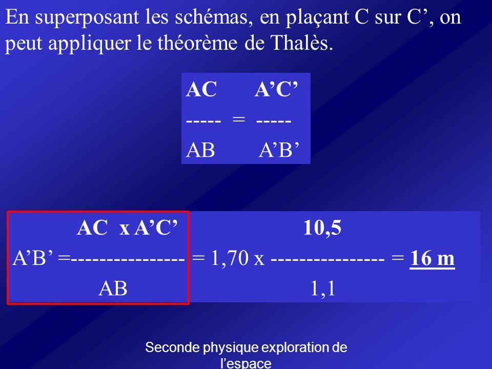 Seconde physique exploration de lespace En superposant les schémas, en plaçant C sur C, on peut appliquer le théorème de Thalès. AC ----- = ----- AB A