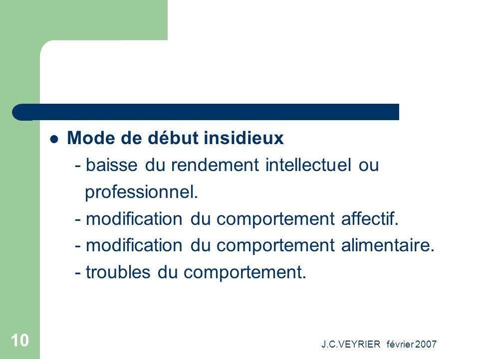 J.C.VEYRIER février 2007 10 Mode de début insidieux - baisse du rendement intellectuel ou professionnel. - modification du comportement affectif. - mo
