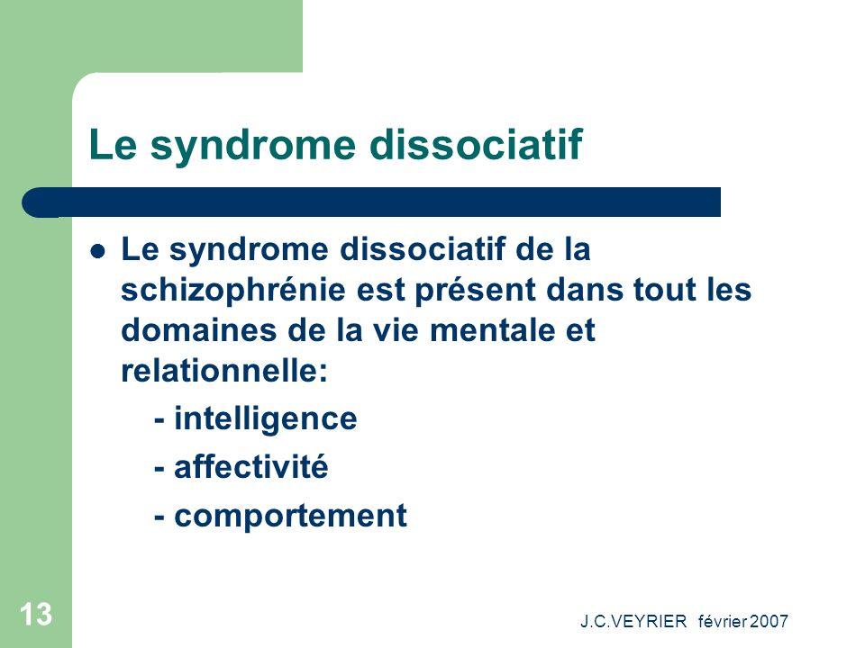 J.C.VEYRIER février 2007 13 Le syndrome dissociatif Le syndrome dissociatif de la schizophrénie est présent dans tout les domaines de la vie mentale e