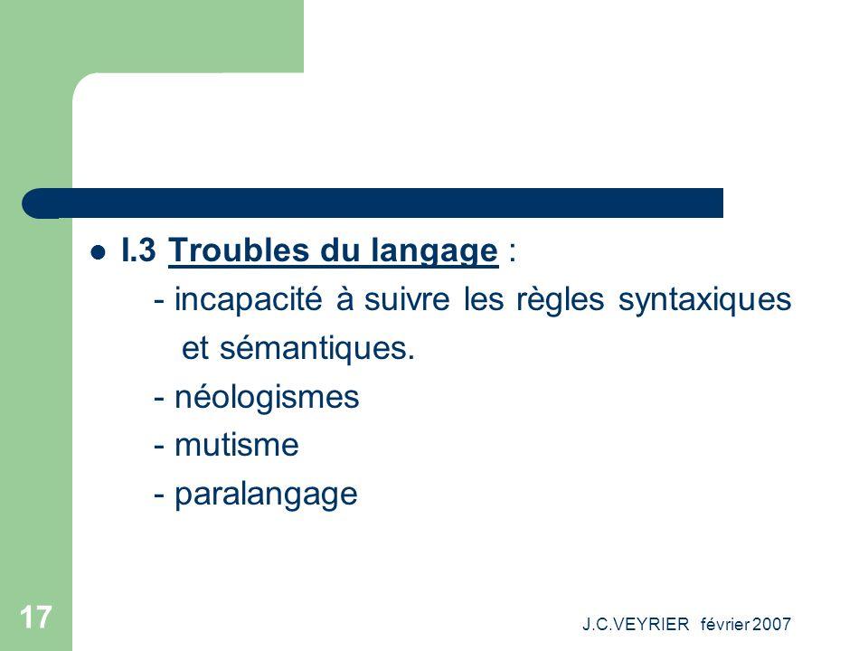J.C.VEYRIER février 2007 17 I.3 Troubles du langage : - incapacité à suivre les règles syntaxiques et sémantiques. - néologismes - mutisme - paralanga