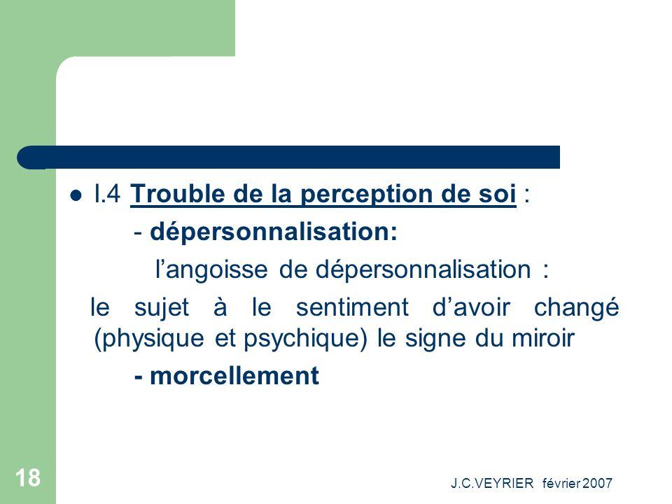 J.C.VEYRIER février 2007 18 I.4 Trouble de la perception de soi : - dépersonnalisation: langoisse de dépersonnalisation : le sujet à le sentiment davo