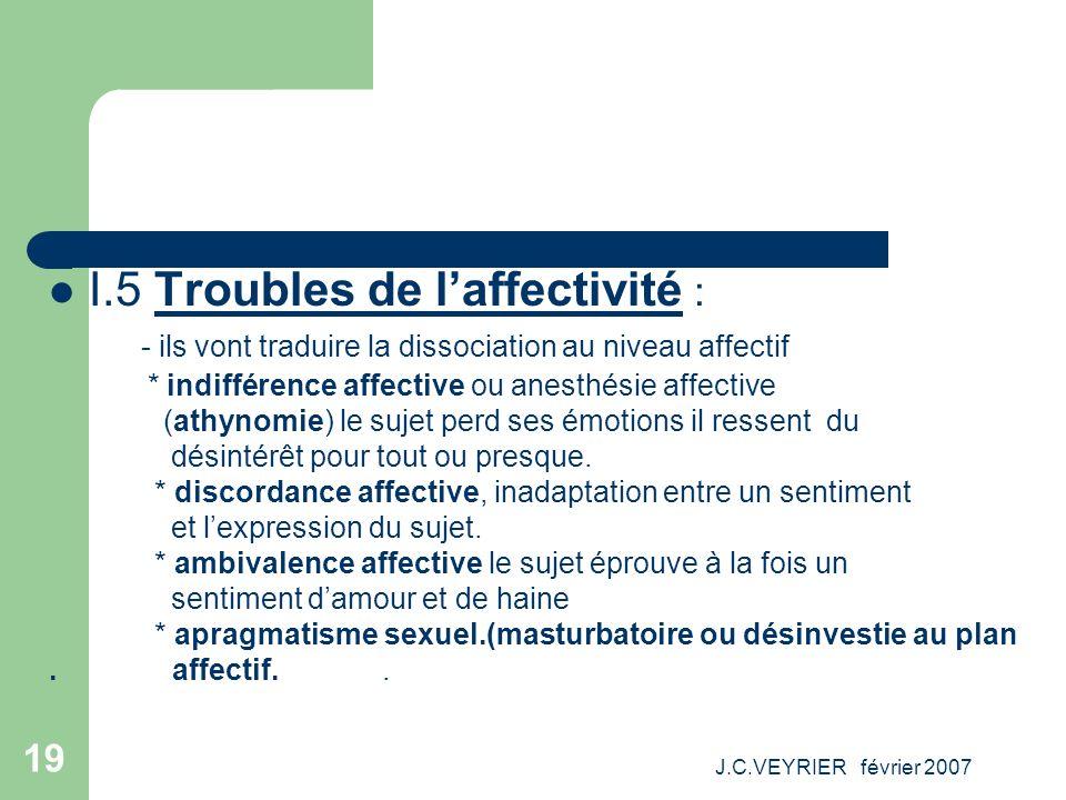 J.C.VEYRIER février 2007 19 I.5 Troubles de laffectivité : - ils vont traduire la dissociation au niveau affectif * indifférence affective ou anesthés