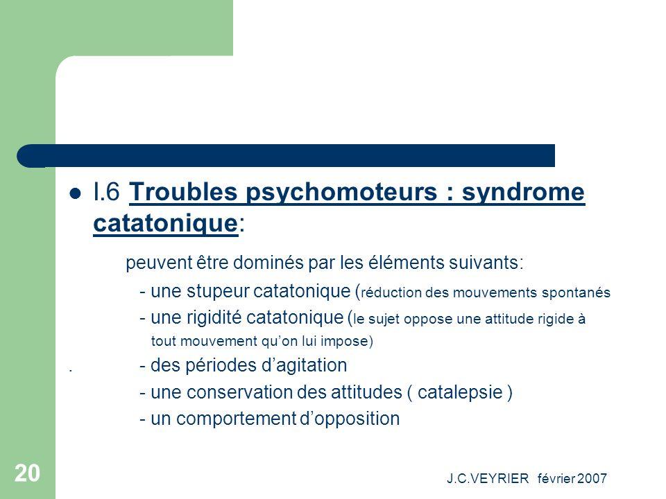 J.C.VEYRIER février 2007 20 I.6 Troubles psychomoteurs : syndrome catatonique: peuvent être dominés par les éléments suivants: - une stupeur catatoniq