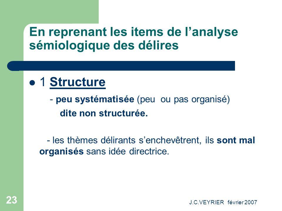 J.C.VEYRIER février 2007 23 En reprenant les items de lanalyse sémiologique des délires 1 Structure - peu systématisée (peu ou pas organisé) dite non