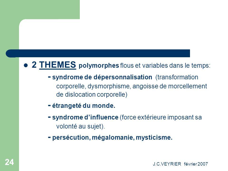 J.C.VEYRIER février 2007 24 2 THEMES polymorphes flous et variables dans le temps: - syndrome de dépersonnalisation (transformation corporelle, dysmor