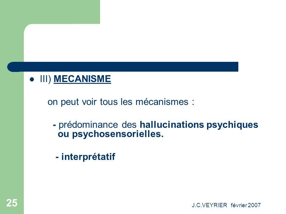 J.C.VEYRIER février 2007 25 III) MECANISME on peut voir tous les mécanismes : - prédominance des hallucinations psychiques ou psychosensorielles. - in