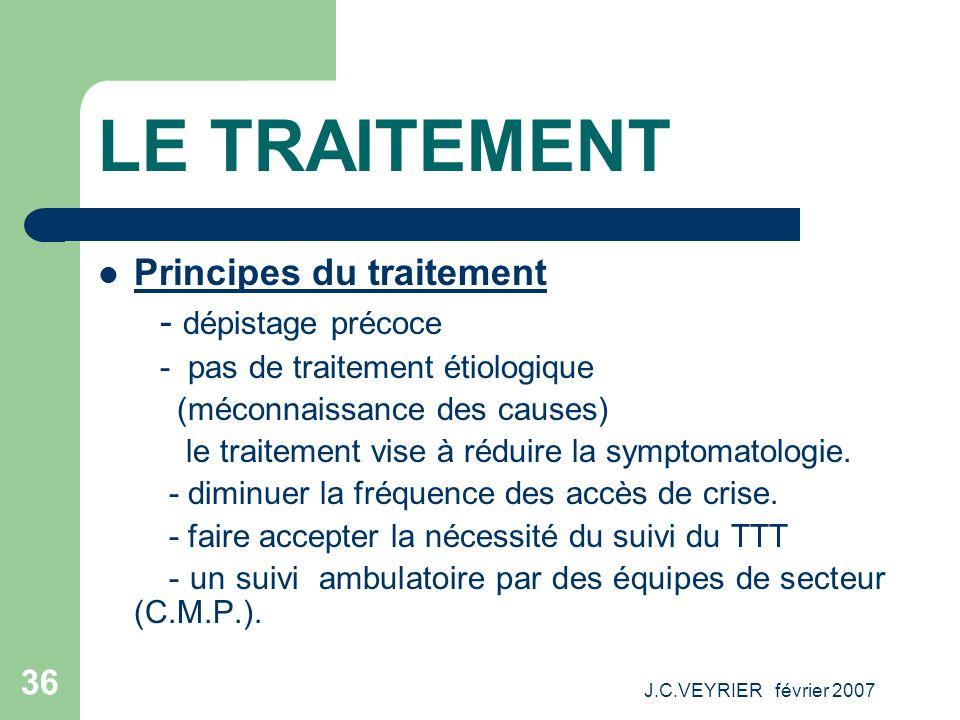 J.C.VEYRIER février 2007 36 LE TRAITEMENT Principes du traitement - dépistage précoce - pas de traitement étiologique (méconnaissance des causes) le t