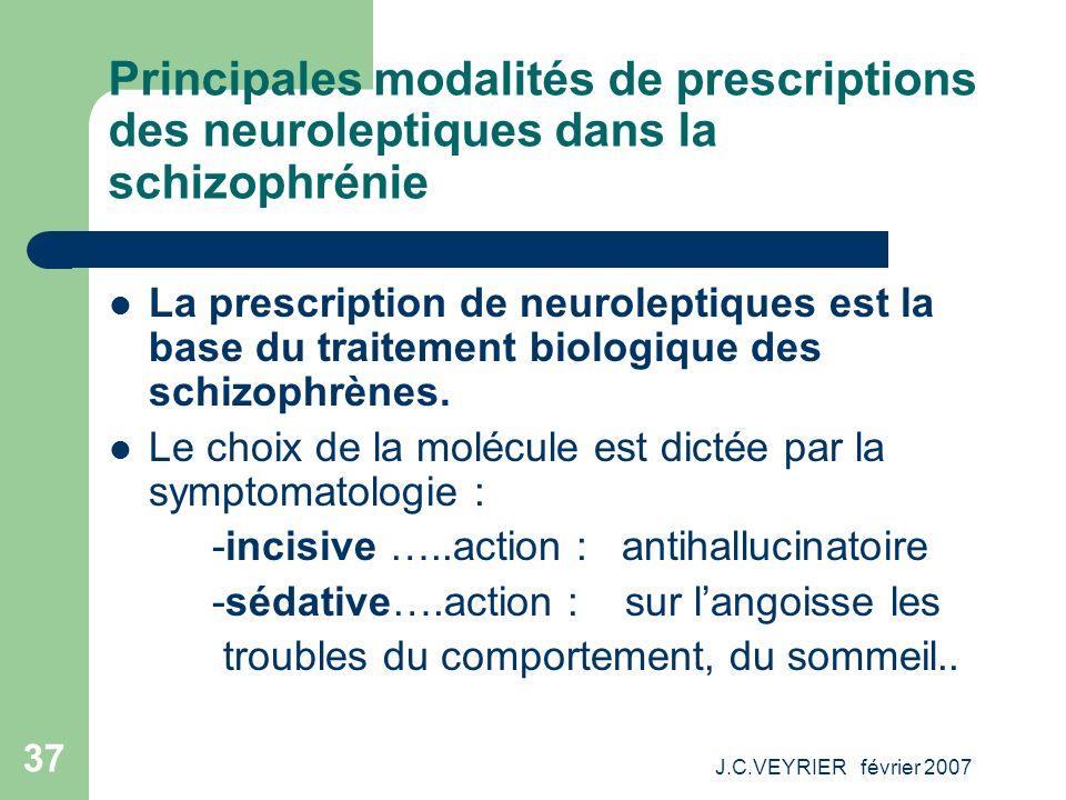 J.C.VEYRIER février 2007 37 Principales modalités de prescriptions des neuroleptiques dans la schizophrénie La prescription de neuroleptiques est la b