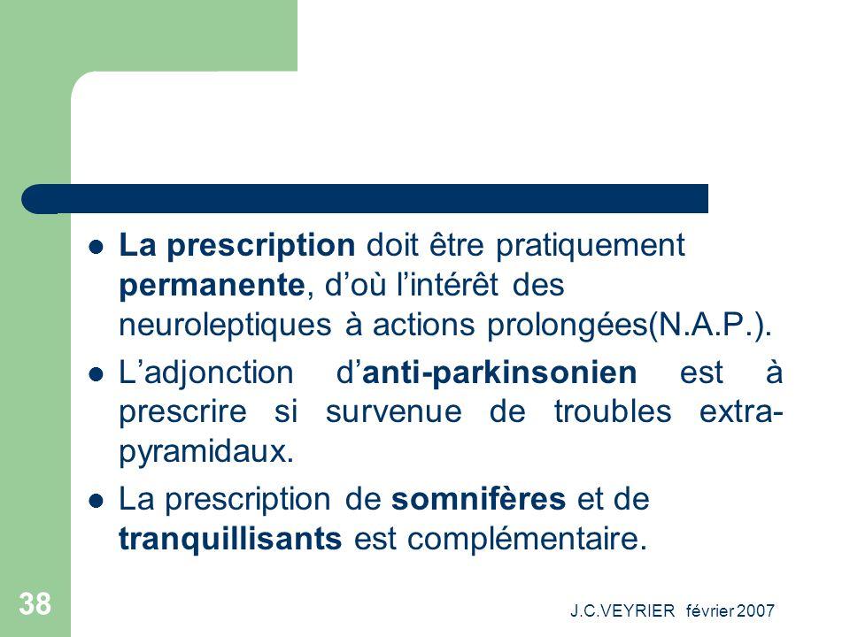 J.C.VEYRIER février 2007 38 La prescription doit être pratiquement permanente, doù lintérêt des neuroleptiques à actions prolongées(N.A.P.). Ladjoncti