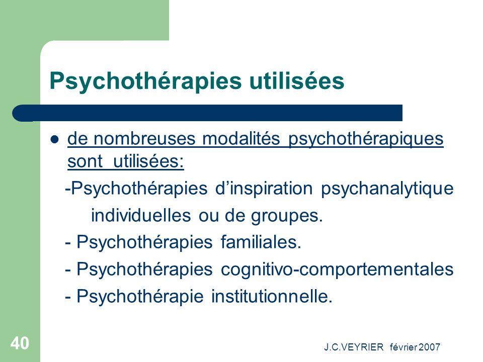 J.C.VEYRIER février 2007 40 Psychothérapies utilisées de nombreuses modalités psychothérapiques sont utilisées: -Psychothérapies dinspiration psychana
