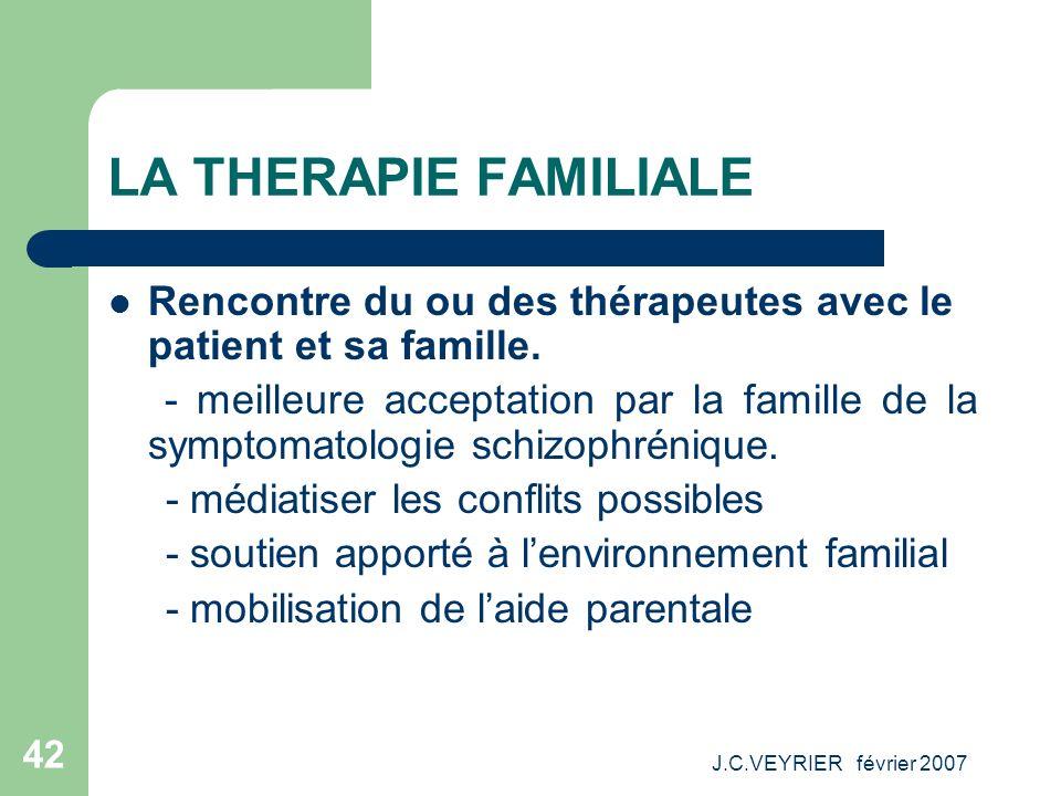 J.C.VEYRIER février 2007 42 LA THERAPIE FAMILIALE Rencontre du ou des thérapeutes avec le patient et sa famille. - meilleure acceptation par la famill