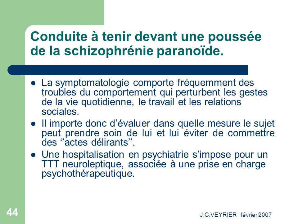 J.C.VEYRIER février 2007 44 Conduite à tenir devant une poussée de la schizophrénie paranoïde. La symptomatologie comporte fréquemment des troubles du