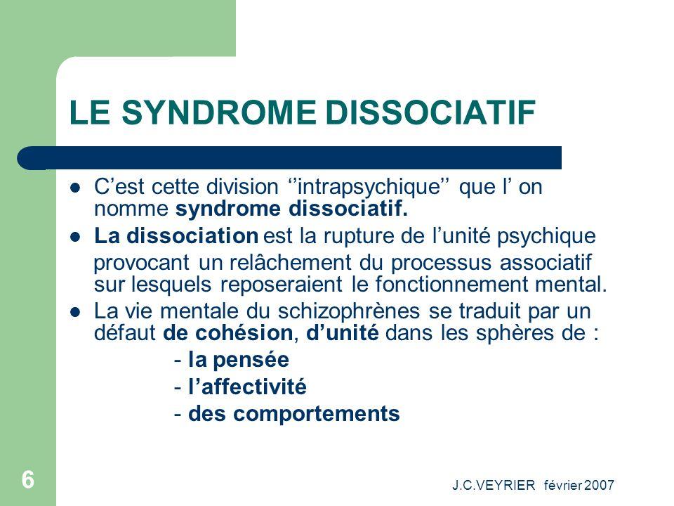 J.C.VEYRIER février 2007 6 LE SYNDROME DISSOCIATIF Cest cette division intrapsychique que l on nomme syndrome dissociatif. La dissociation est la rupt