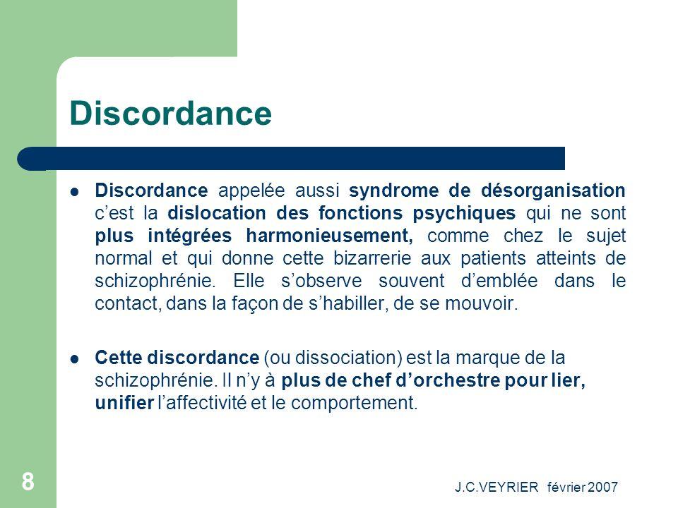 J.C.VEYRIER février 2007 8 Discordance Discordance appelée aussi syndrome de désorganisation cest la dislocation des fonctions psychiques qui ne sont