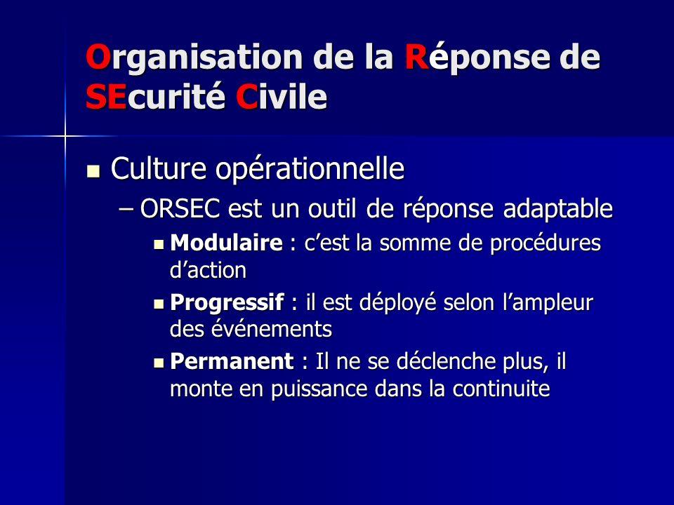 Organisation de la Réponse de SEcurité Civile Culture opérationnelle Culture opérationnelle –ORSEC est un outil de réponse adaptable Modulaire : cest