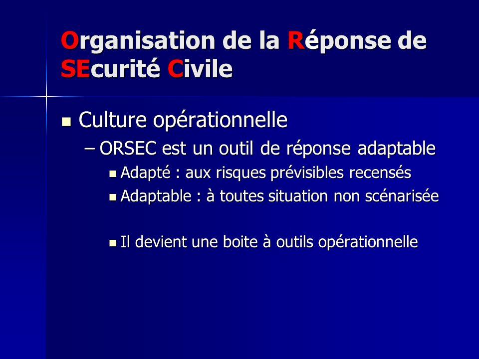 Organisation de la Réponse de SEcurité Civile Culture opérationnelle Culture opérationnelle –ORSEC est un outil de réponse adaptable Adapté : aux risq
