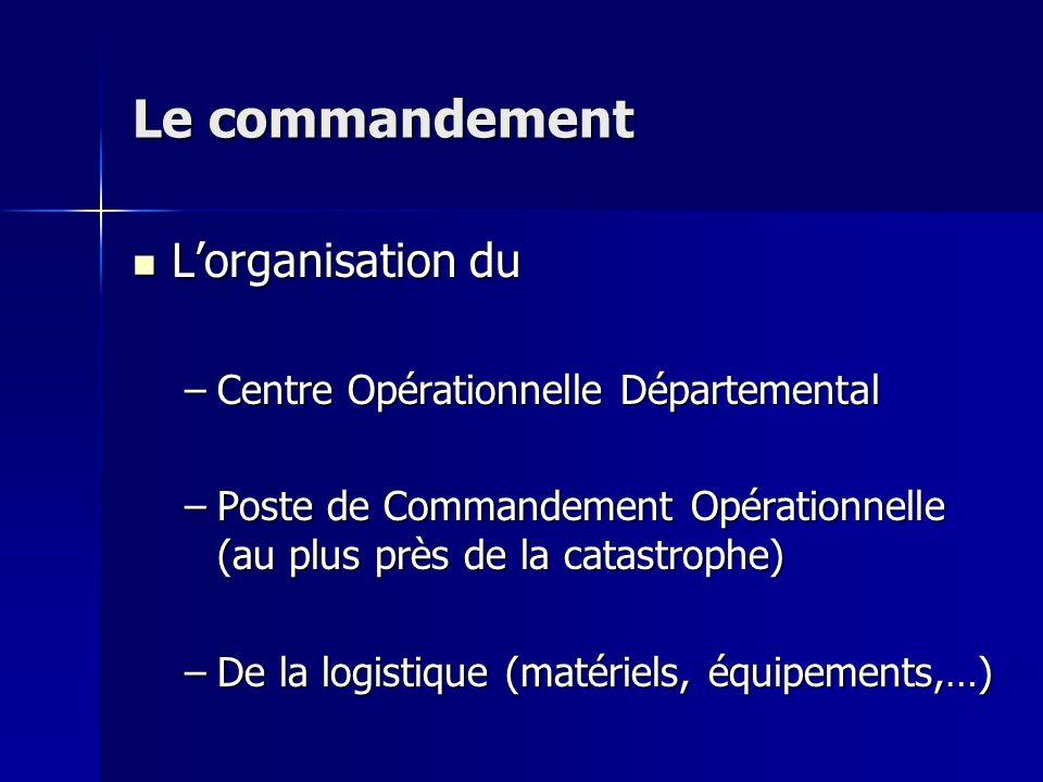 Le commandement Lorganisation du Lorganisation du –Centre Opérationnelle Départemental –Poste de Commandement Opérationnelle (au plus près de la catas
