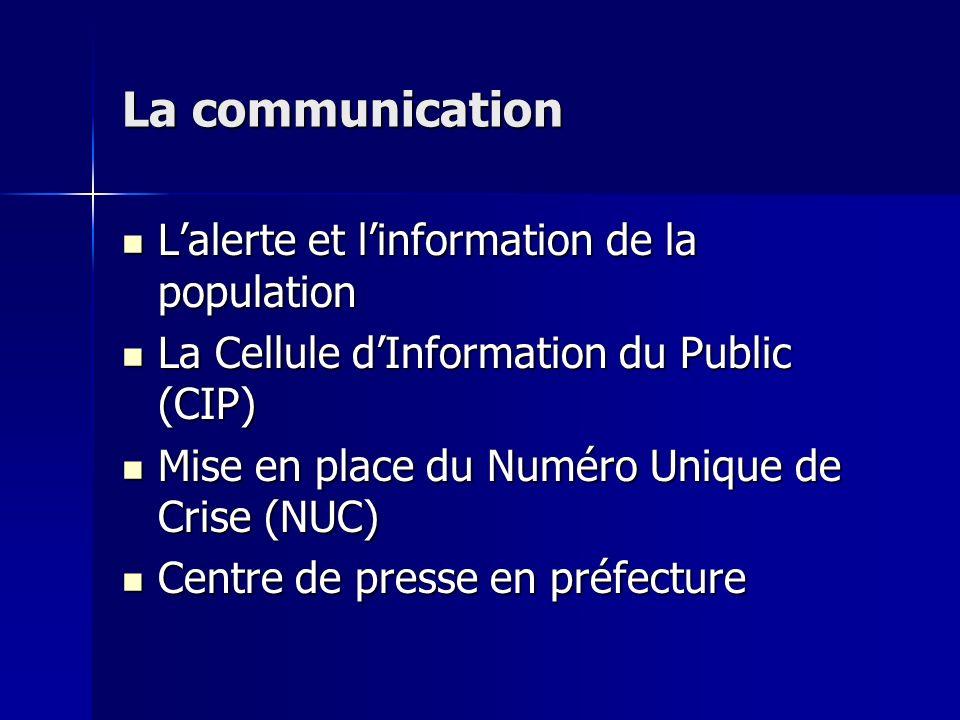 La communication Lalerte et linformation de la population Lalerte et linformation de la population La Cellule dInformation du Public (CIP) La Cellule