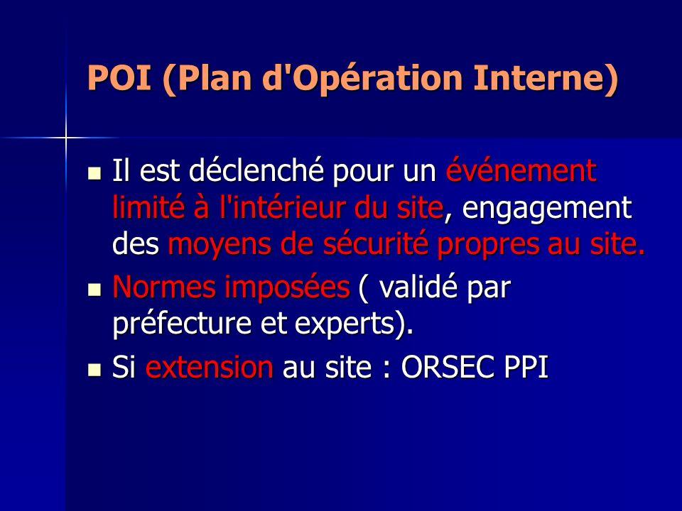 POI (Plan d'Opération Interne) Il est déclenché pour un événement limité à l'intérieur du site, engagement des moyens de sécurité propres au site. Il