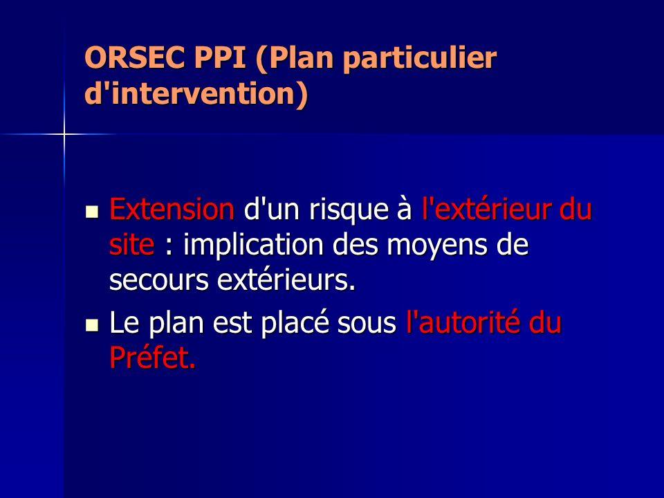 ORSEC PPI (Plan particulier d'intervention) Extension d'un risque à l'extérieur du site : implication des moyens de secours extérieurs. Extension d'un