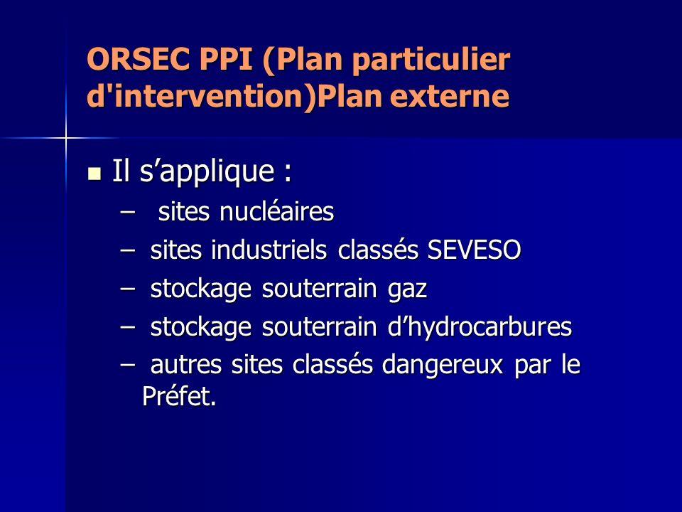 ORSEC PPI (Plan particulier d'intervention)Plan externe Il sapplique : Il sapplique : – sites nucléaires – sites industriels classés SEVESO – stockage