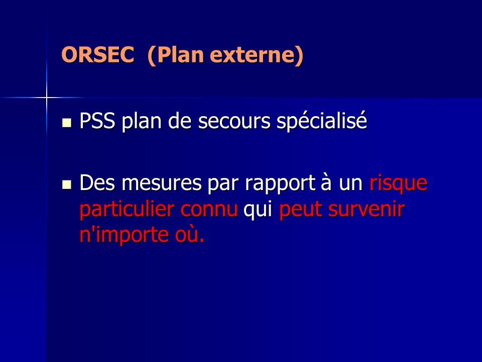ORSEC (Plan externe) PSS plan de secours spécialisé PSS plan de secours spécialisé Des mesures par rapport à un risque particulier connu qui peut surv