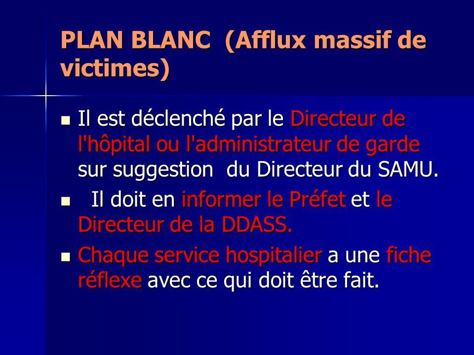 PLAN BLANC (Afflux massif de victimes) Il est déclenché par le Directeur de l'hôpital ou l'administrateur de garde sur suggestion du Directeur du SAMU