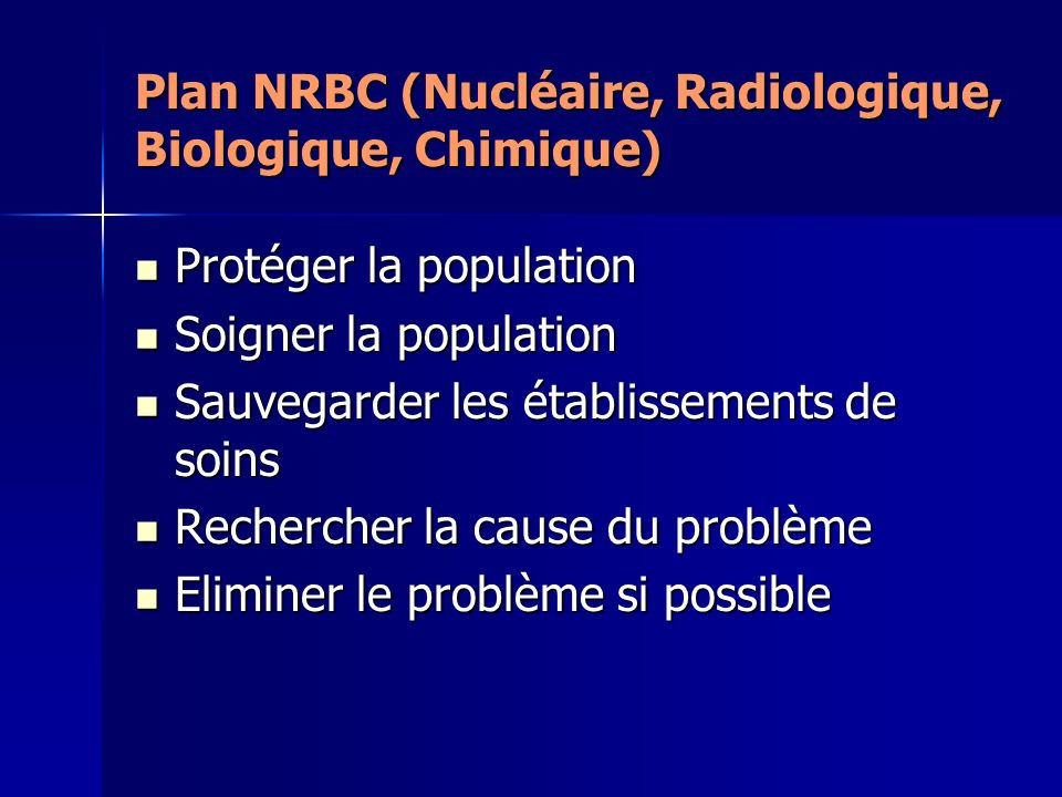 Plan NRBC (Nucléaire, Radiologique, Biologique, Chimique) Protéger la population Protéger la population Soigner la population Soigner la population Sa