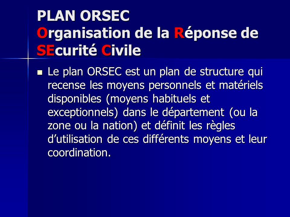 PLAN ORSEC Organisation de la Réponse de SEcurité Civile Le plan ORSEC est un plan de structure qui recense les moyens personnels et matériels disponi