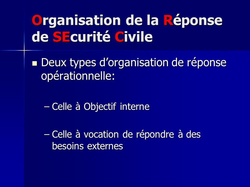 Organisation de la Réponse de SEcurité Civile Deux types dorganisation de réponse opérationnelle: Deux types dorganisation de réponse opérationnelle:
