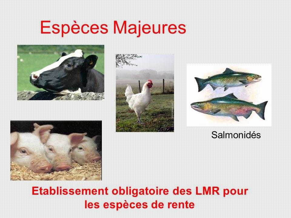 Espèces Majeures Salmonidés Etablissement obligatoire des LMR pour les espèces de rente