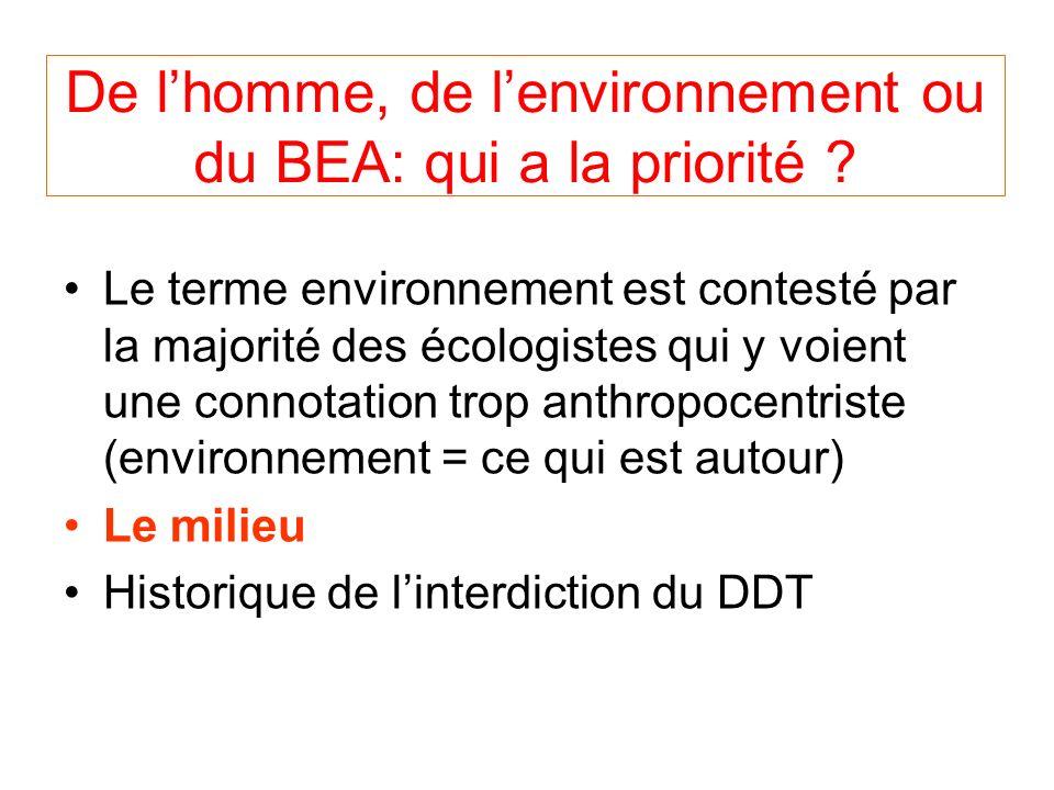 De lhomme, de lenvironnement ou du BEA: qui a la priorité .