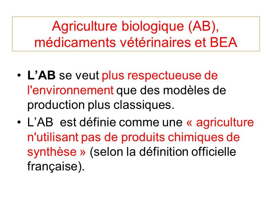 Agriculture biologique (AB), médicaments vétérinaires et BEA LAB se veut plus respectueuse de l environnement que des modèles de production plus classiques.