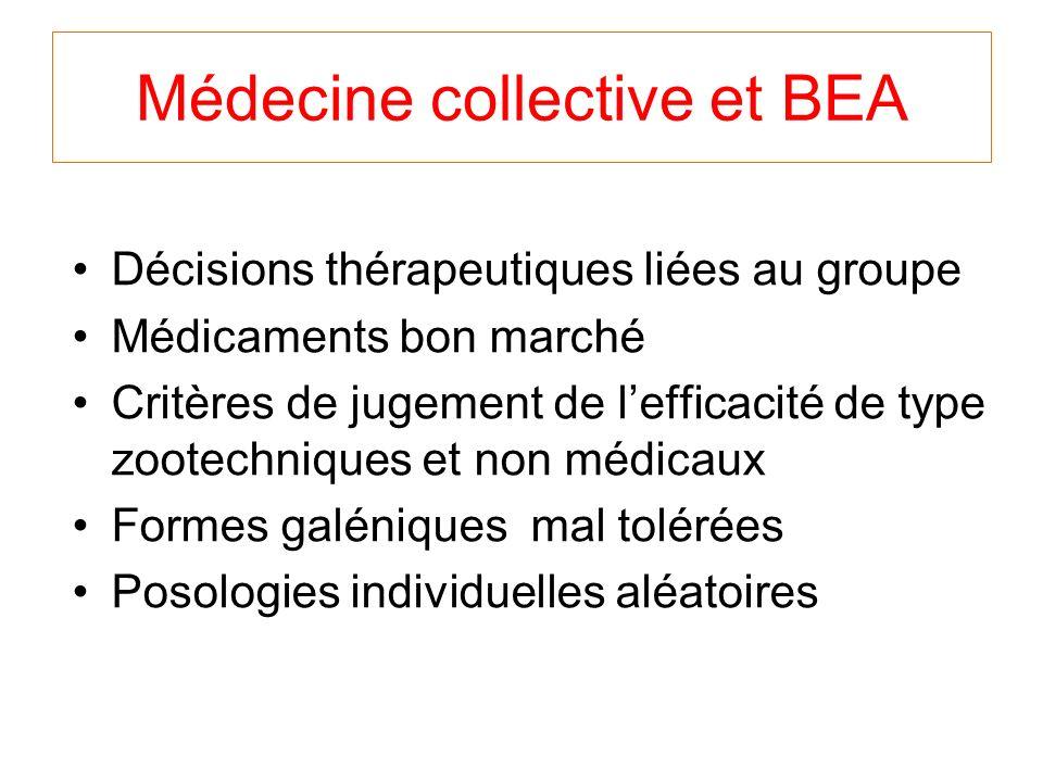 Médecine collective et BEA Décisions thérapeutiques liées au groupe Médicaments bon marché Critères de jugement de lefficacité de type zootechniques et non médicaux Formes galéniques mal tolérées Posologies individuelles aléatoires
