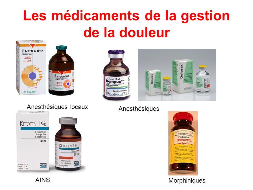 Les médicaments de la gestion de la douleur AINS Morphiniques Anesthésiques locaux Anesthésiques