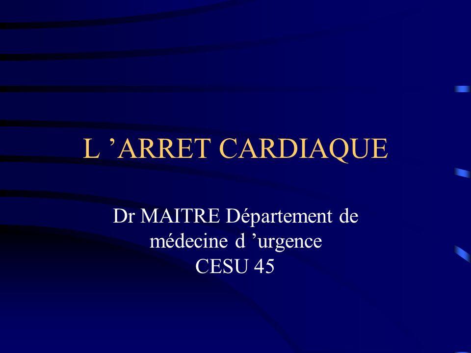 L ARRET CARDIAQUE Dr MAITRE Département de médecine d urgence CESU 45