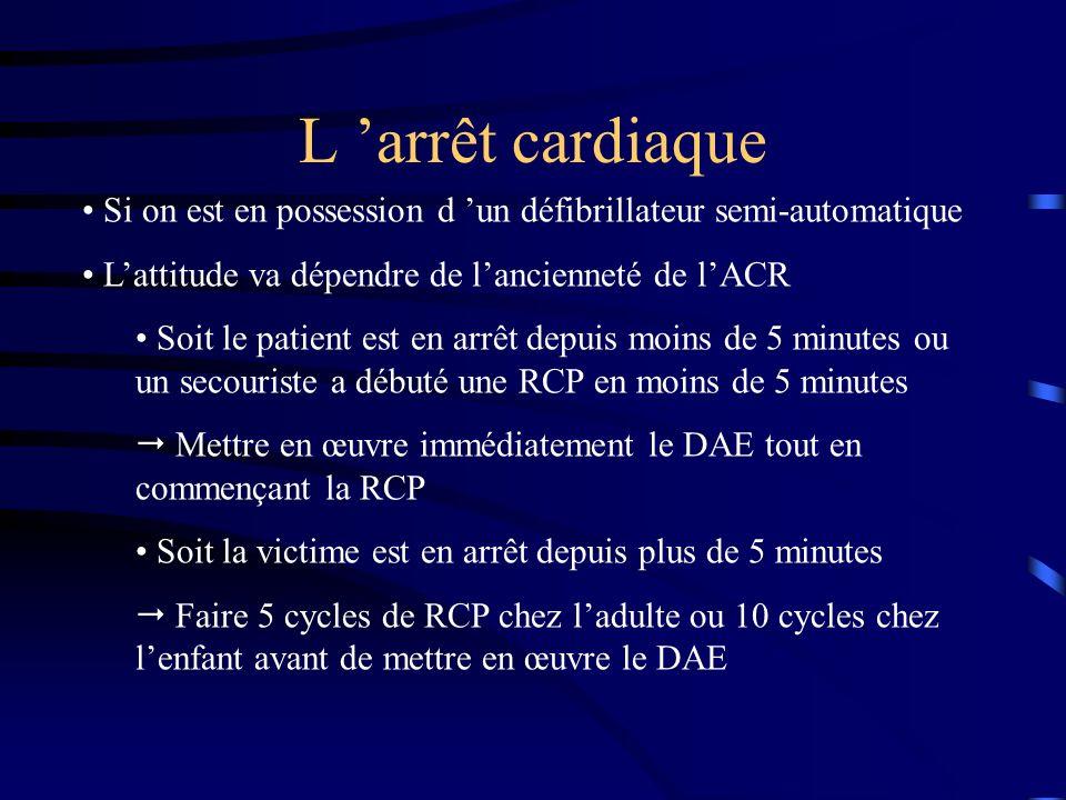 L arrêt cardiaque Si on est en possession d un défibrillateur semi-automatique Lattitude va dépendre de lancienneté de lACR Soit le patient est en arrêt depuis moins de 5 minutes ou un secouriste a débuté une RCP en moins de 5 minutes Mettre en œuvre immédiatement le DAE tout en commençant la RCP Soit la victime est en arrêt depuis plus de 5 minutes Faire 5 cycles de RCP chez ladulte ou 10 cycles chez lenfant avant de mettre en œuvre le DAE