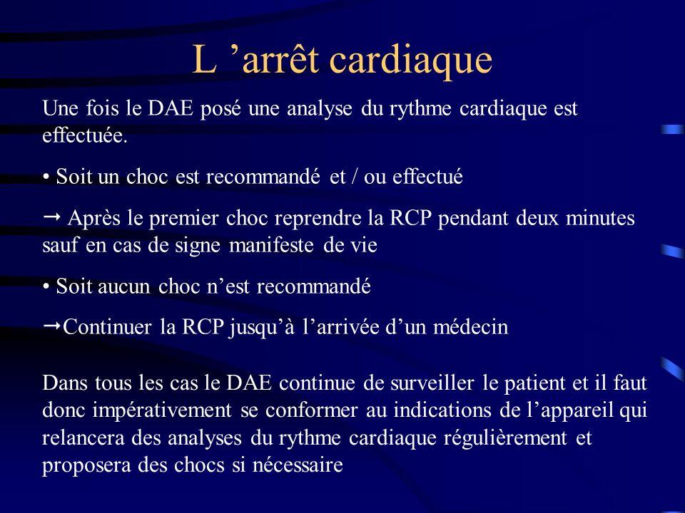 L arrêt cardiaque Une fois le DAE posé une analyse du rythme cardiaque est effectuée. Soit un choc est recommandé et / ou effectué Après le premier ch