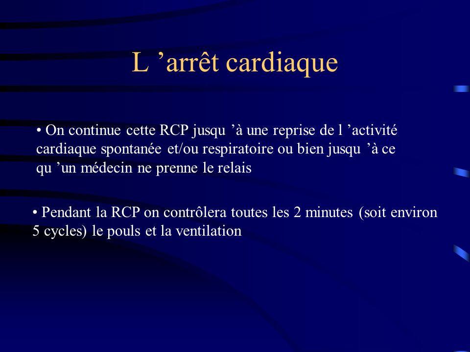 L arrêt cardiaque On continue cette RCP jusqu à une reprise de l activité cardiaque spontanée et/ou respiratoire ou bien jusqu à ce qu un médecin ne prenne le relais Pendant la RCP on contrôlera toutes les 2 minutes (soit environ 5 cycles) le pouls et la ventilation