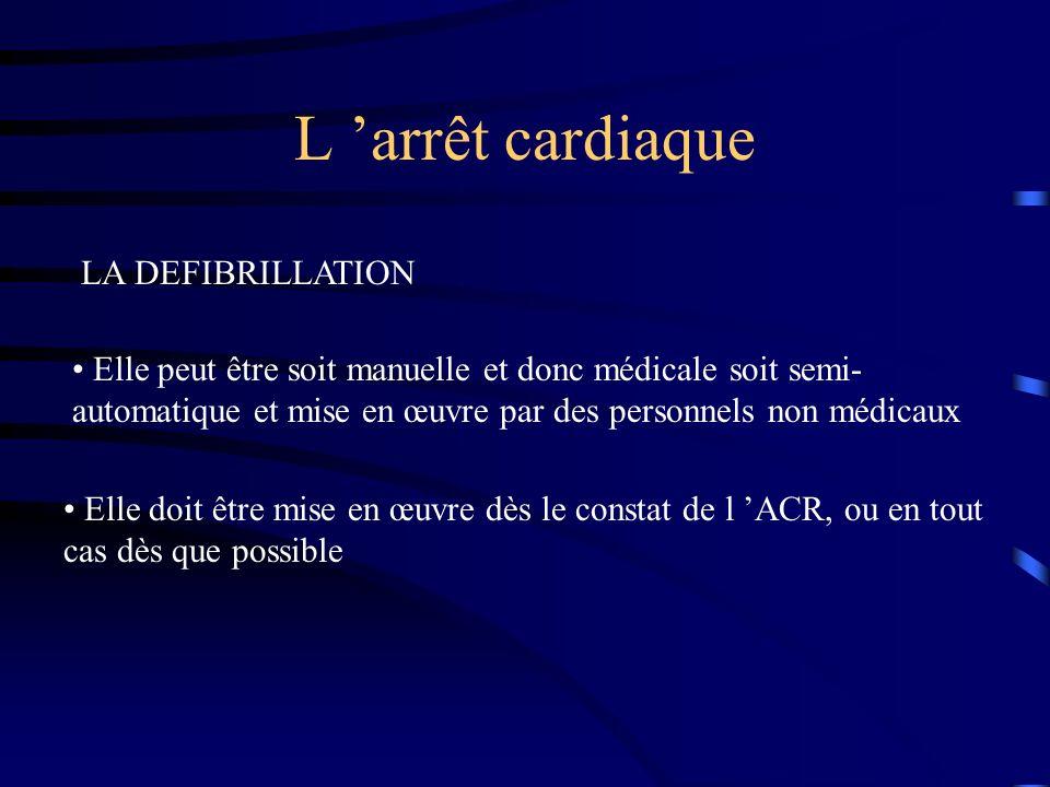 L arrêt cardiaque LA DEFIBRILLATION Elle peut être soit manuelle et donc médicale soit semi- automatique et mise en œuvre par des personnels non médicaux Elle doit être mise en œuvre dès le constat de l ACR, ou en tout cas dès que possible