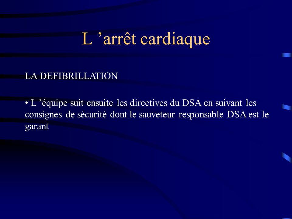 L arrêt cardiaque LA DEFIBRILLATION L équipe suit ensuite les directives du DSA en suivant les consignes de sécurité dont le sauveteur responsable DSA est le garant