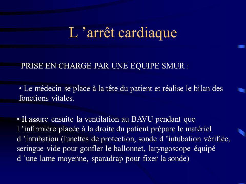 L arrêt cardiaque PRISE EN CHARGE PAR UNE EQUIPE SMUR : Le médecin se place à la tête du patient et réalise le bilan des fonctions vitales. Il assure